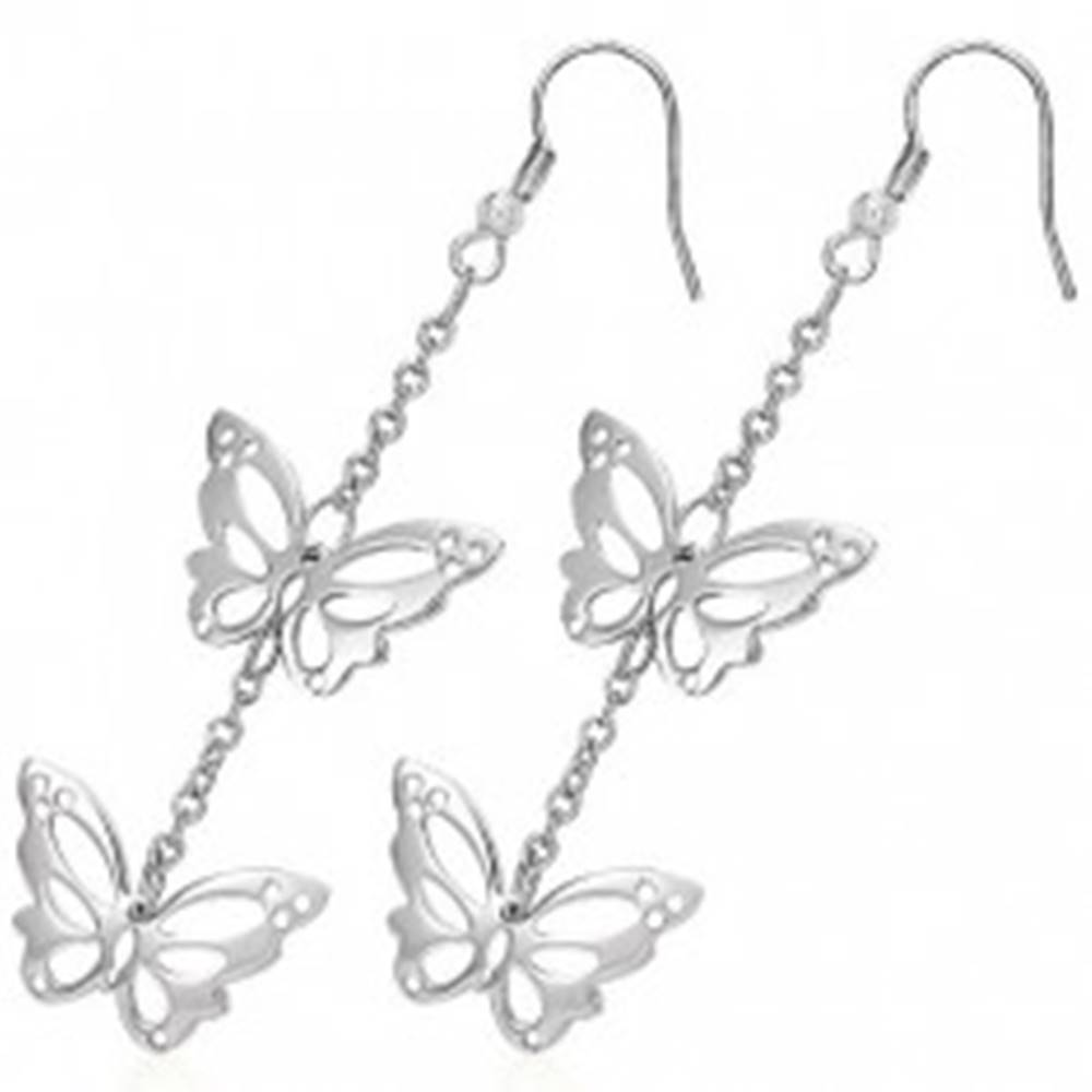 Šperky eshop Náušnice z chirurgickej ocele - vyrezávané motýle na retiazke, háčiky