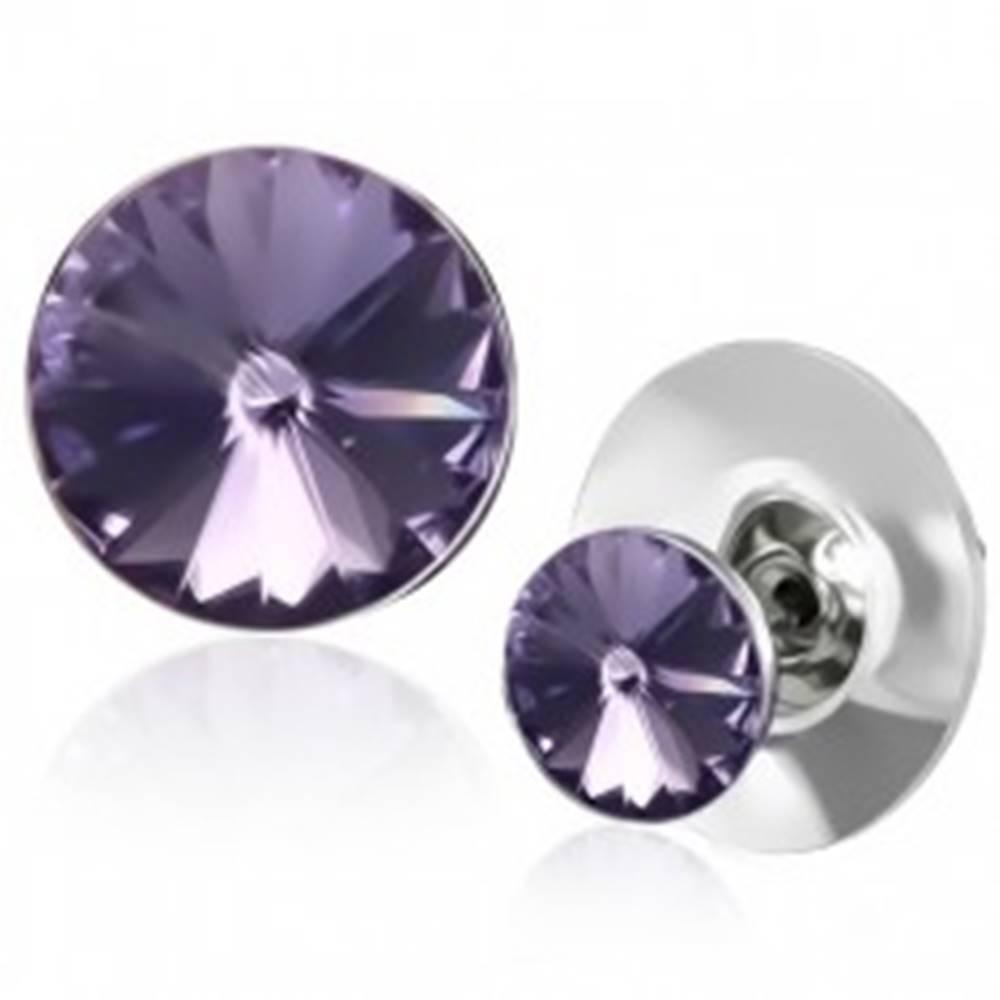 Šperky eshop Náušnice z medi - platinová objímka s fialovým SWAROVSKI kryštálom
