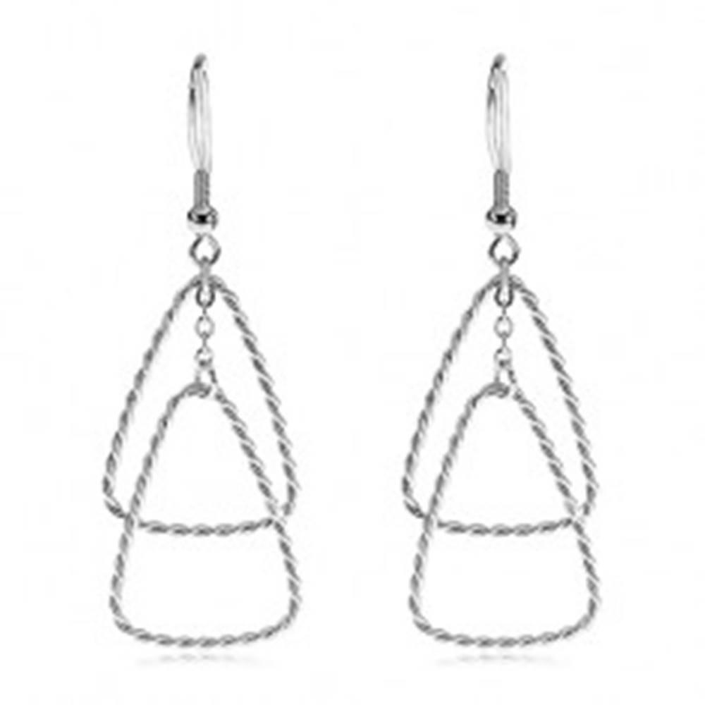 Šperky eshop Náušnice z ocele 316L - dva prepletané trojuholníky, háčiky