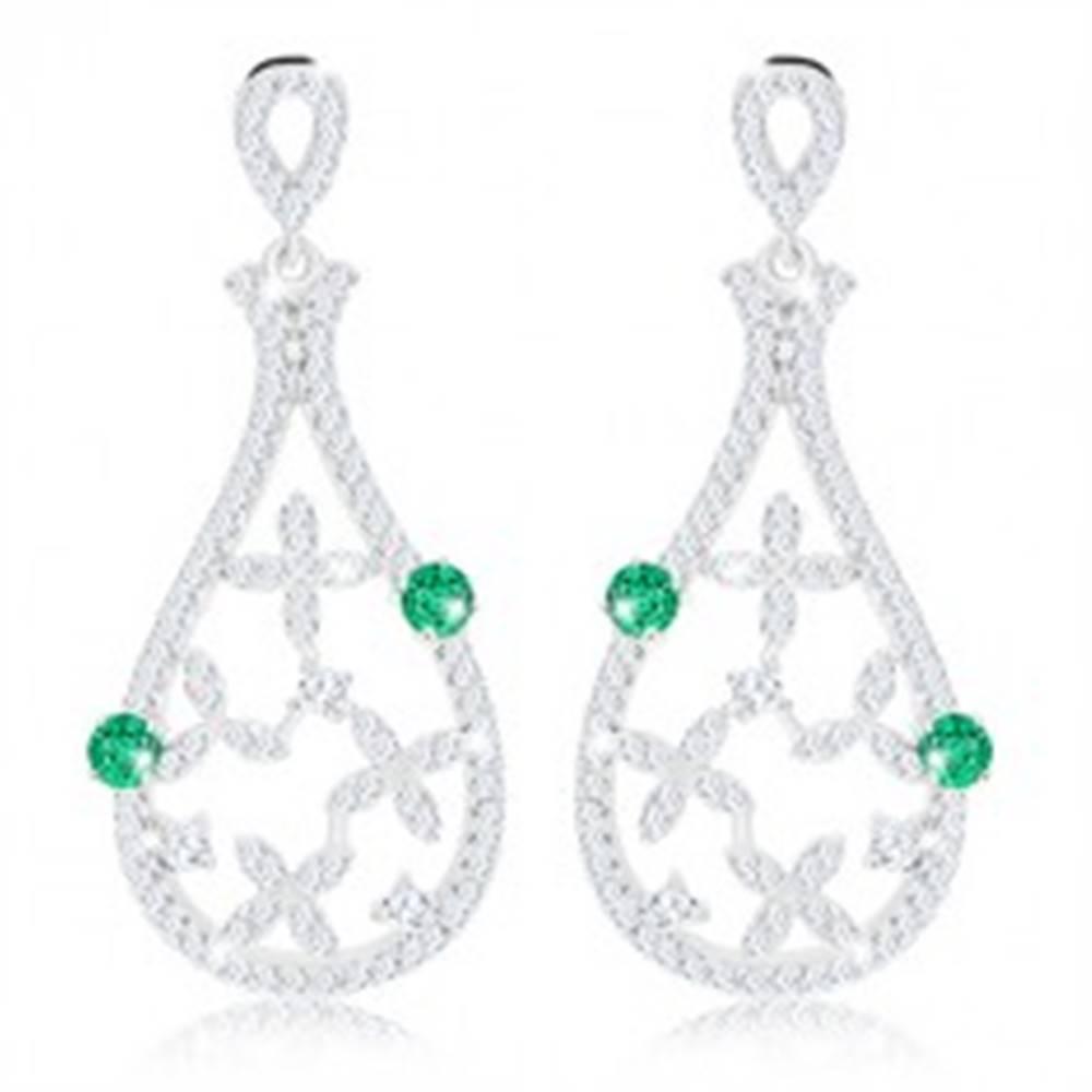 Šperky eshop Náušnice zo striebra 925, kontúra slzy so zelenými zirkónmi a čírymi kvetmi