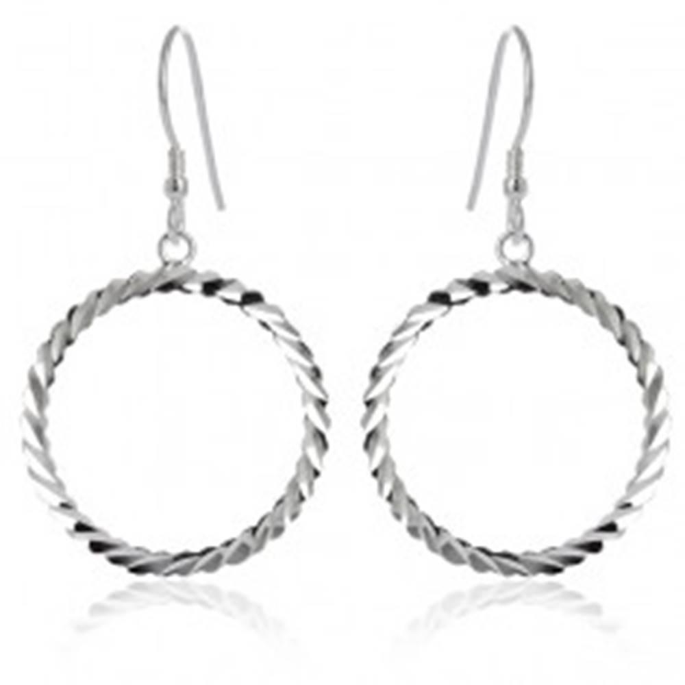 Šperky eshop Náušnice zo striebra 925 - vlnkovité kruhy