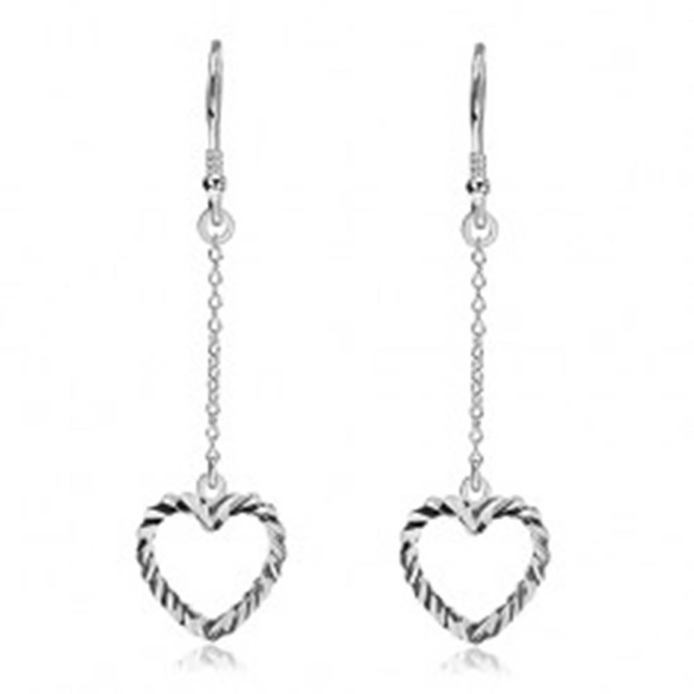 Šperky eshop Náušnice zo striebra 925 - vrúbkované srdcia na retiazke