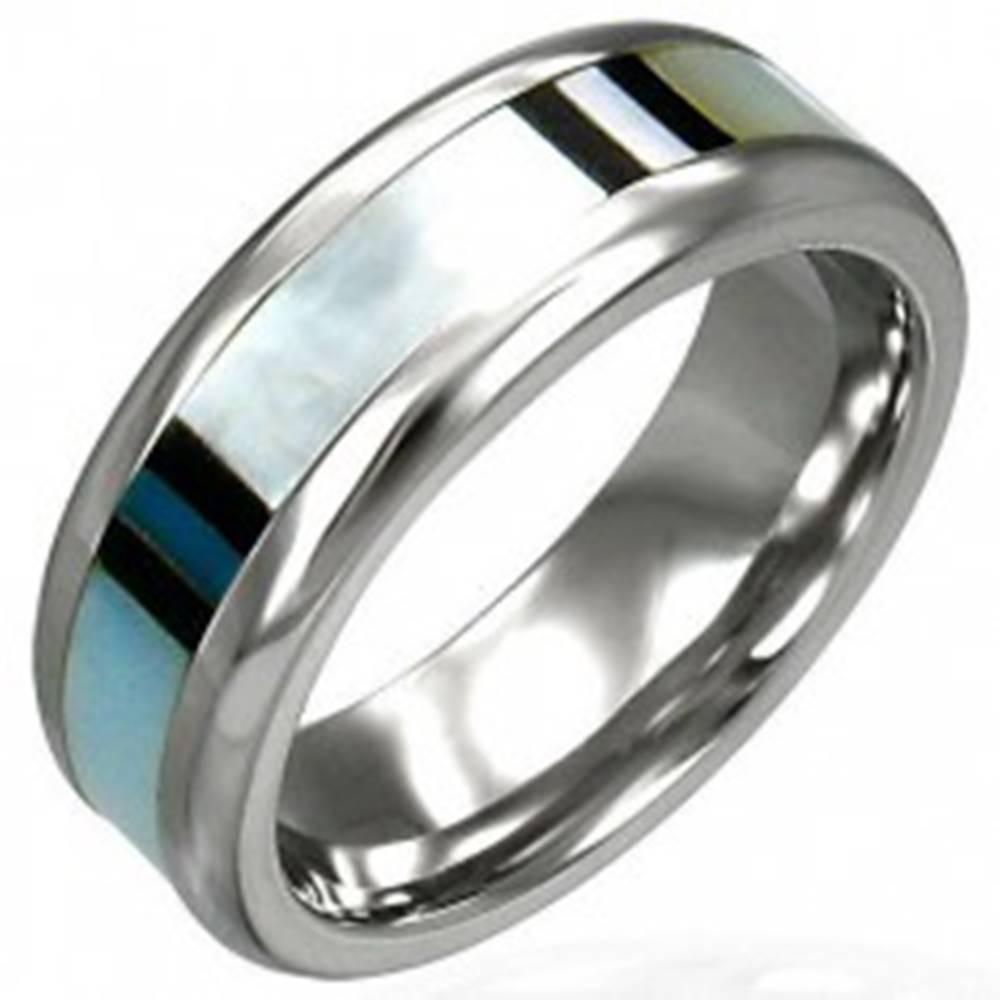 Šperky eshop Obrúčka z chirurgickej ocele s perleťou - Veľkosť: 49 mm