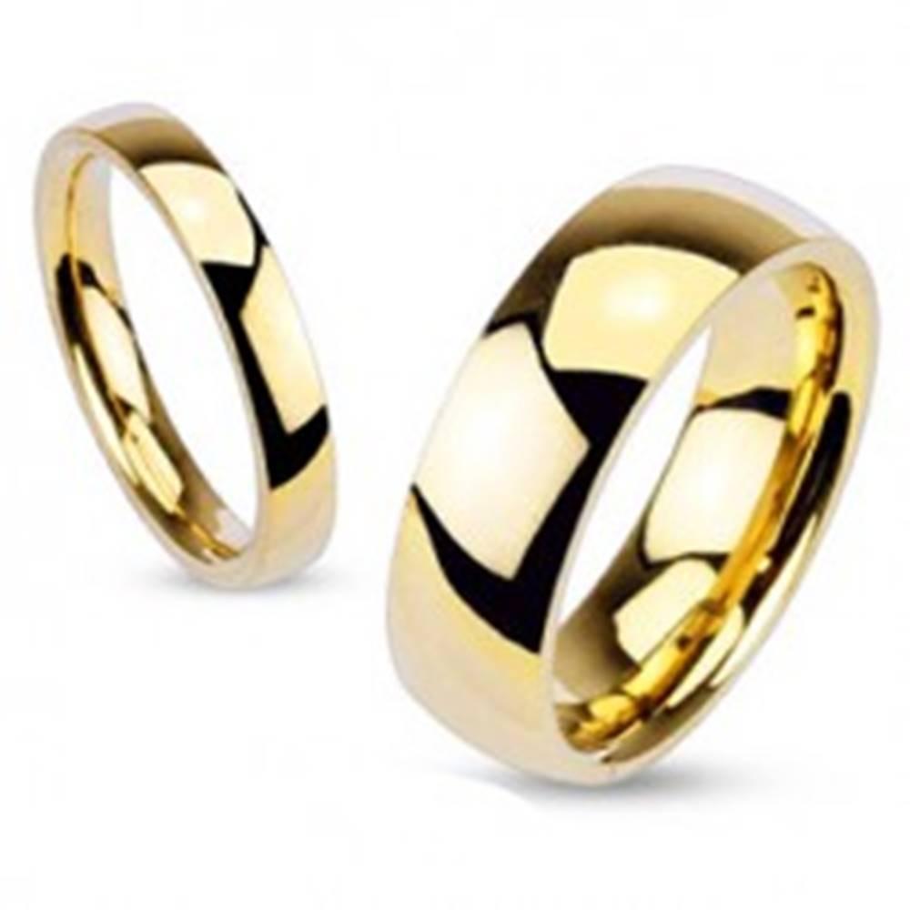 Šperky eshop Obrúčka z chirurgickej ocele, zlatý odtieň, lesklý hladký povrch, 5 mm - Veľkosť: 49 mm
