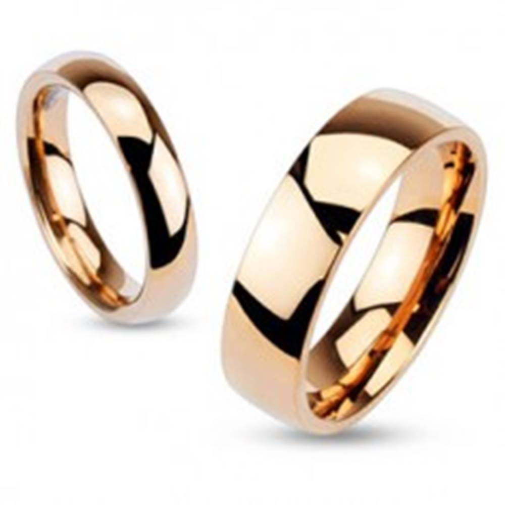 Šperky eshop Oceľová obrúčka, medený odtieň, zrkadlový lesk, vypuklý povrch, 4 mm - Veľkosť: 49 mm