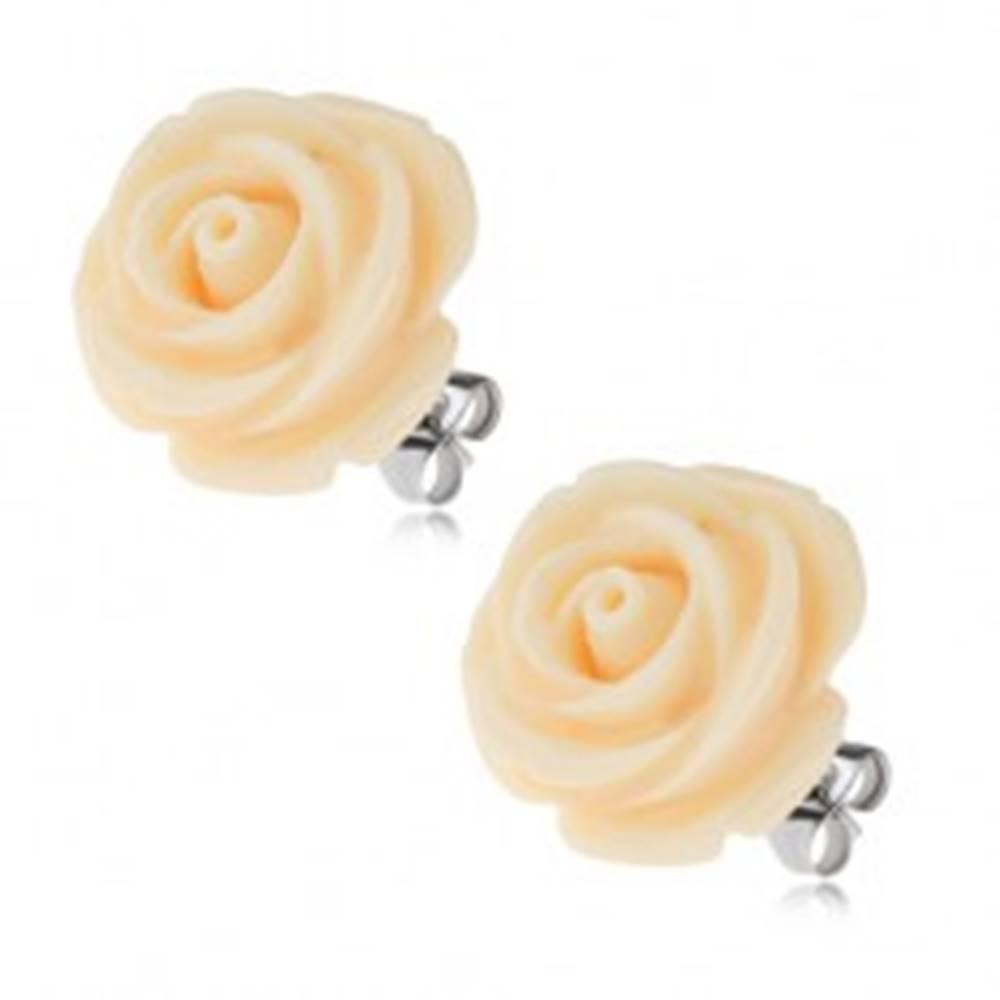 Šperky eshop Oceľové náušnice, krémový kvet ruže zo živice, puzety, 20 mm