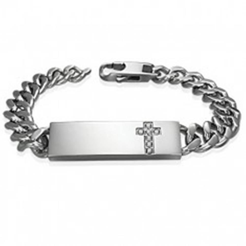 Šperky eshop Oceľový náramok v štýle hodiniek s čírym zirkónovým krížom na platničke