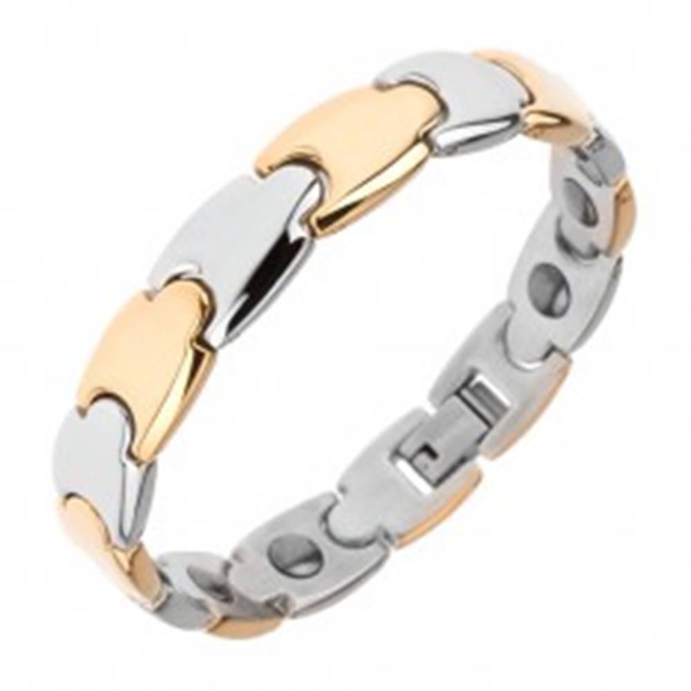 Šperky eshop Oceľový náramok, Y články, magnety, zlatá a strieborná farba