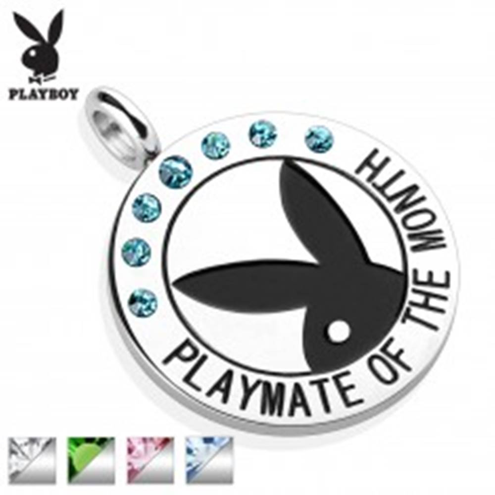 Šperky eshop Oceľový okrúhly prívesok striebornej farby, čierny Playboy zajačik, zirkóniky, nápis - Farba: Aqua modrá