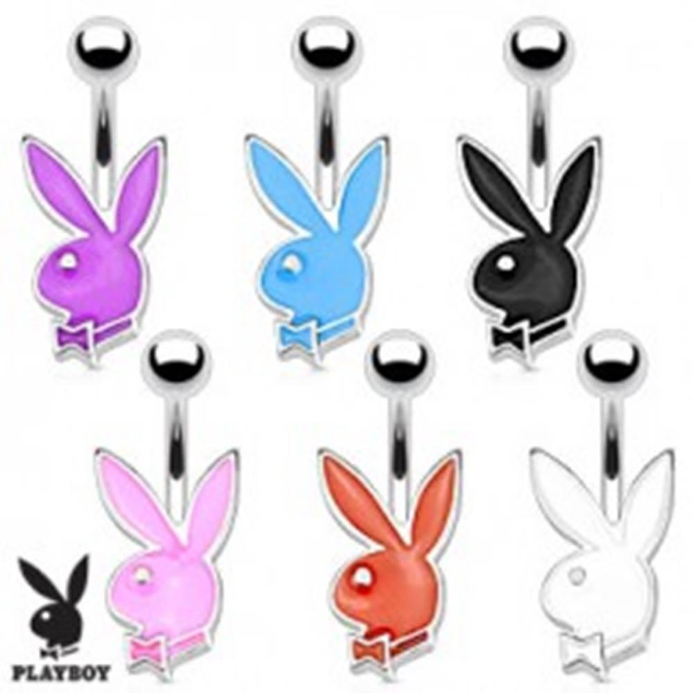 Šperky eshop Oceľový piercing do bruška, strieborný odtieň, farebný zajačik Playboy, 12 mm - Farba piercing: Biela