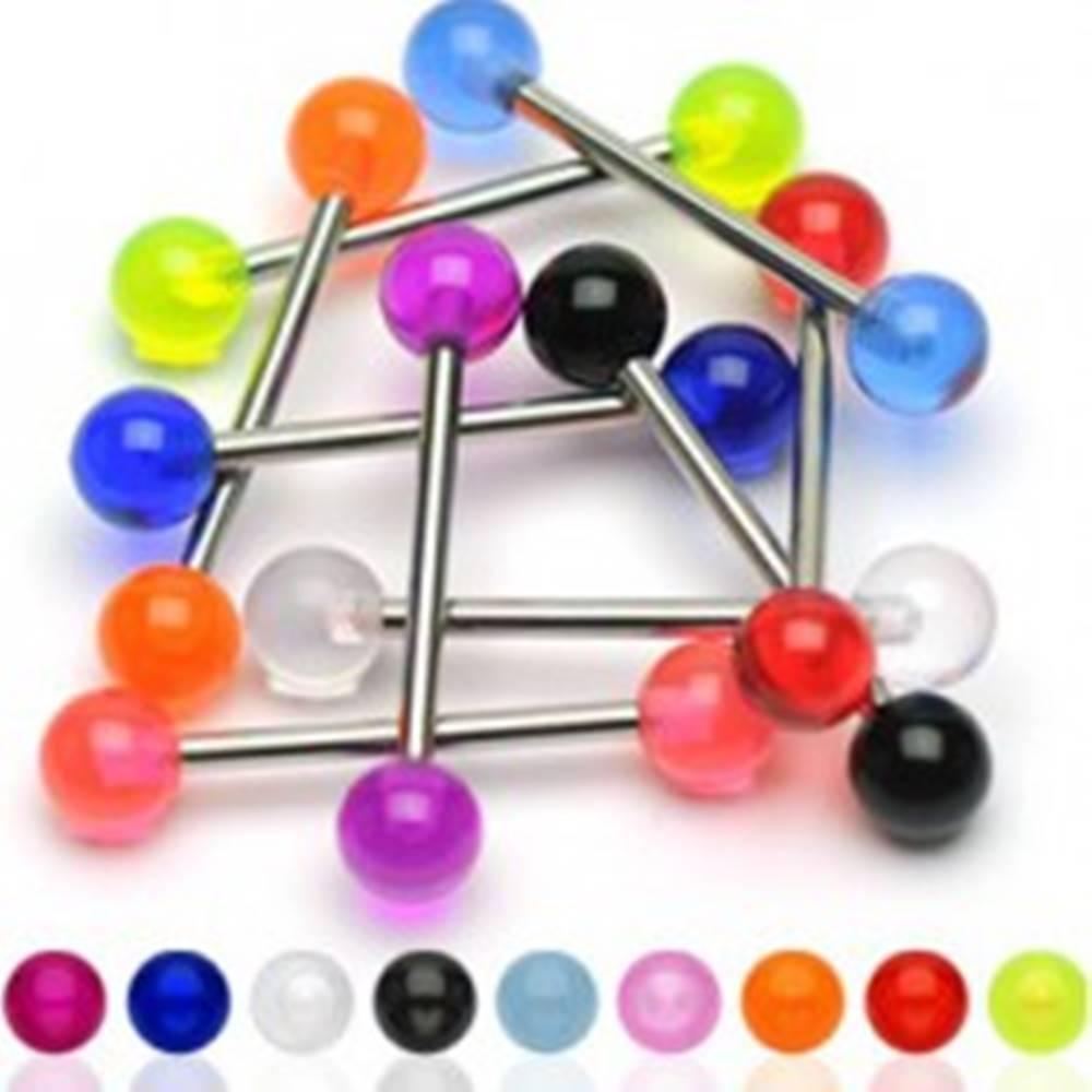 Šperky eshop Oceľový piercing do jazyka s farebnými akrylovými guličkami - Farba piercing: Čierna