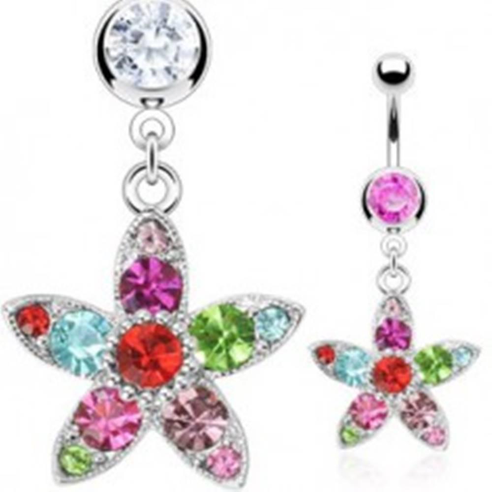 Šperky eshop Piercing do bruška farebný kvet - Farba zirkónu: Číra - C