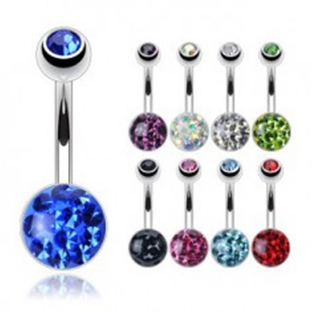 Šperky eshop Piercing do pupku z ocele 316L - zirkón zaliaty priehľadnou glazúrou, rôzne farby zirkónov - Farba zirkónu: Aqua modrá - Q