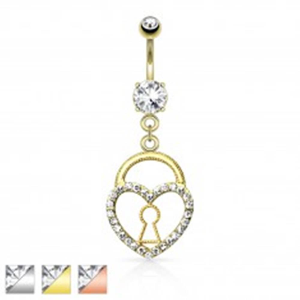 Šperky eshop Piercing do pupku, oceľ 316L, srdcová kladka zdobená čírymi zirkónikmi - Farba: Medená