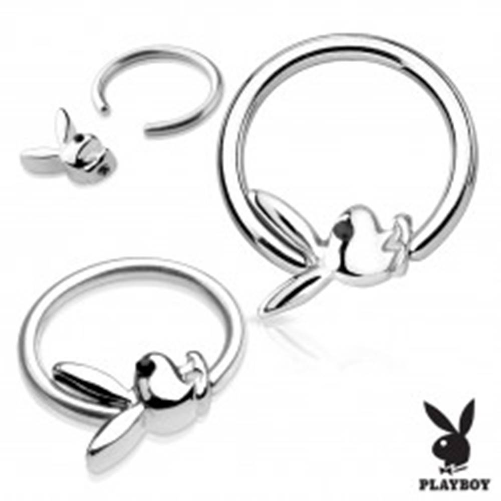 Šperky eshop Piercing krúžok z chirurgickej ocele striebornej farby s Playboy zajačikom - Hrúbka piercingu: 1,2 mm