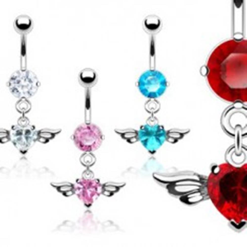 Šperky eshop Piercing pupka veľký zirkón srdce a vtáčie krídla - Farba piercing: Aqua