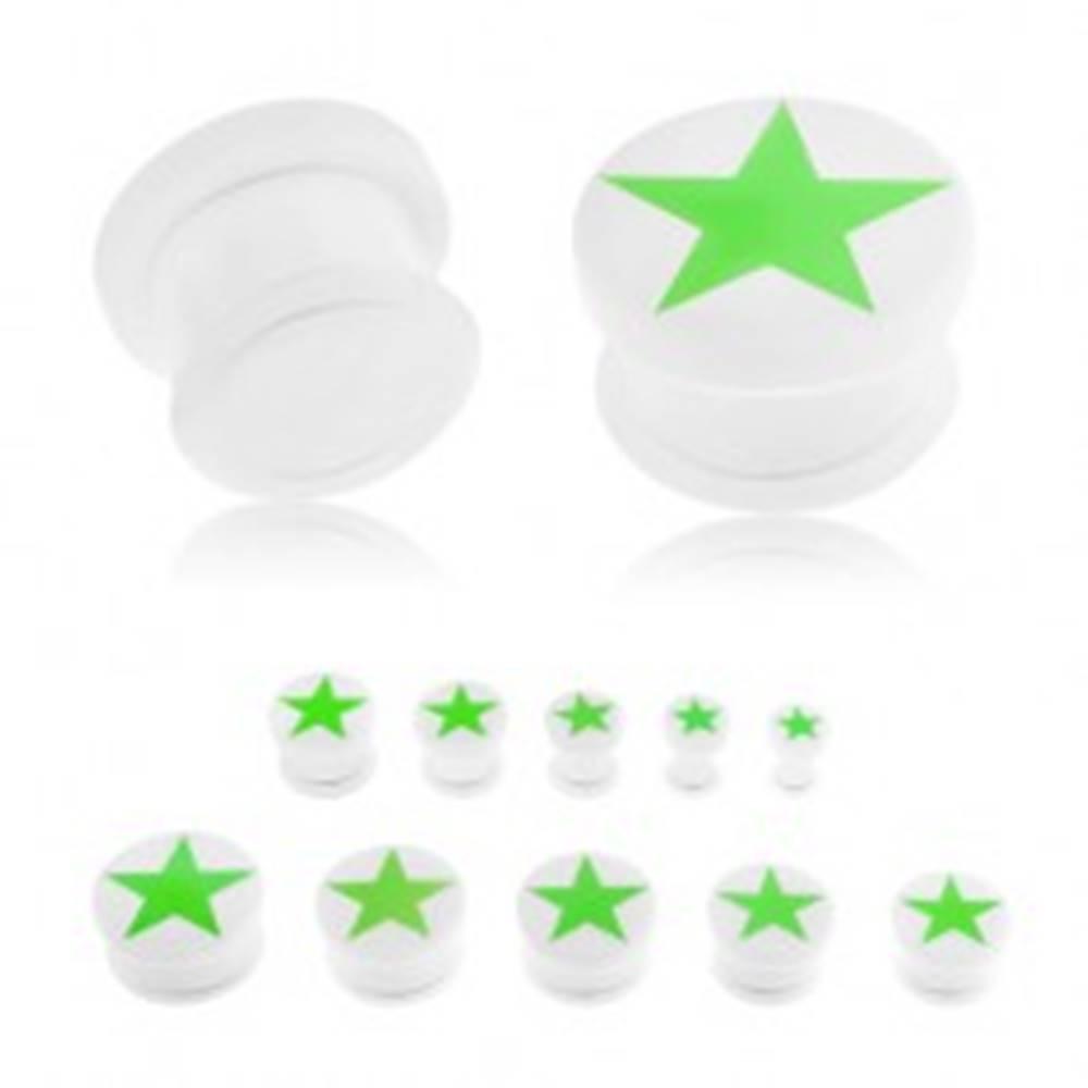 Šperky eshop Plug do ucha z akrylu bielej farby, zelená päťcípa hviezda žiariaca v tme, gumička - Hrúbka: 10 mm