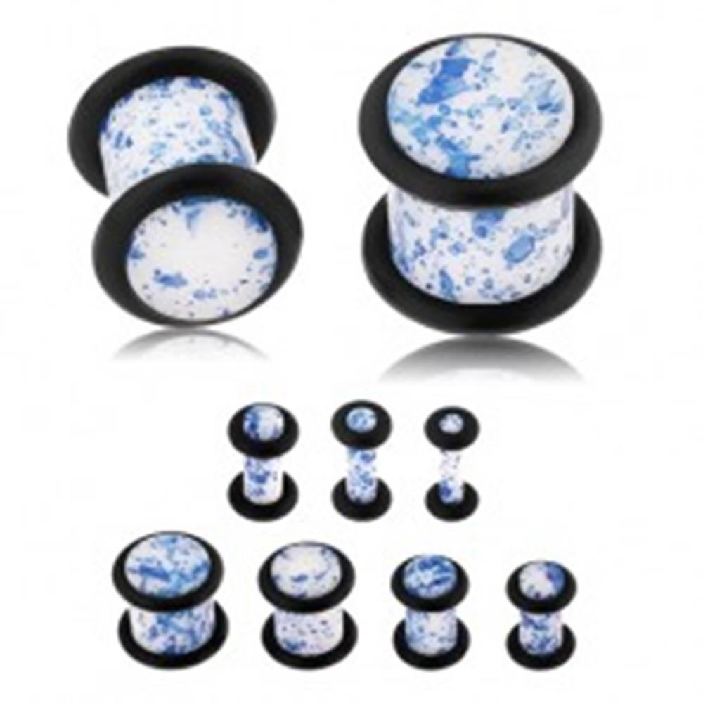 Šperky eshop Plug do ucha z akrylu, biely povrch pofŕkaný modrou farbou, gumičky - Hrúbka: 10 mm