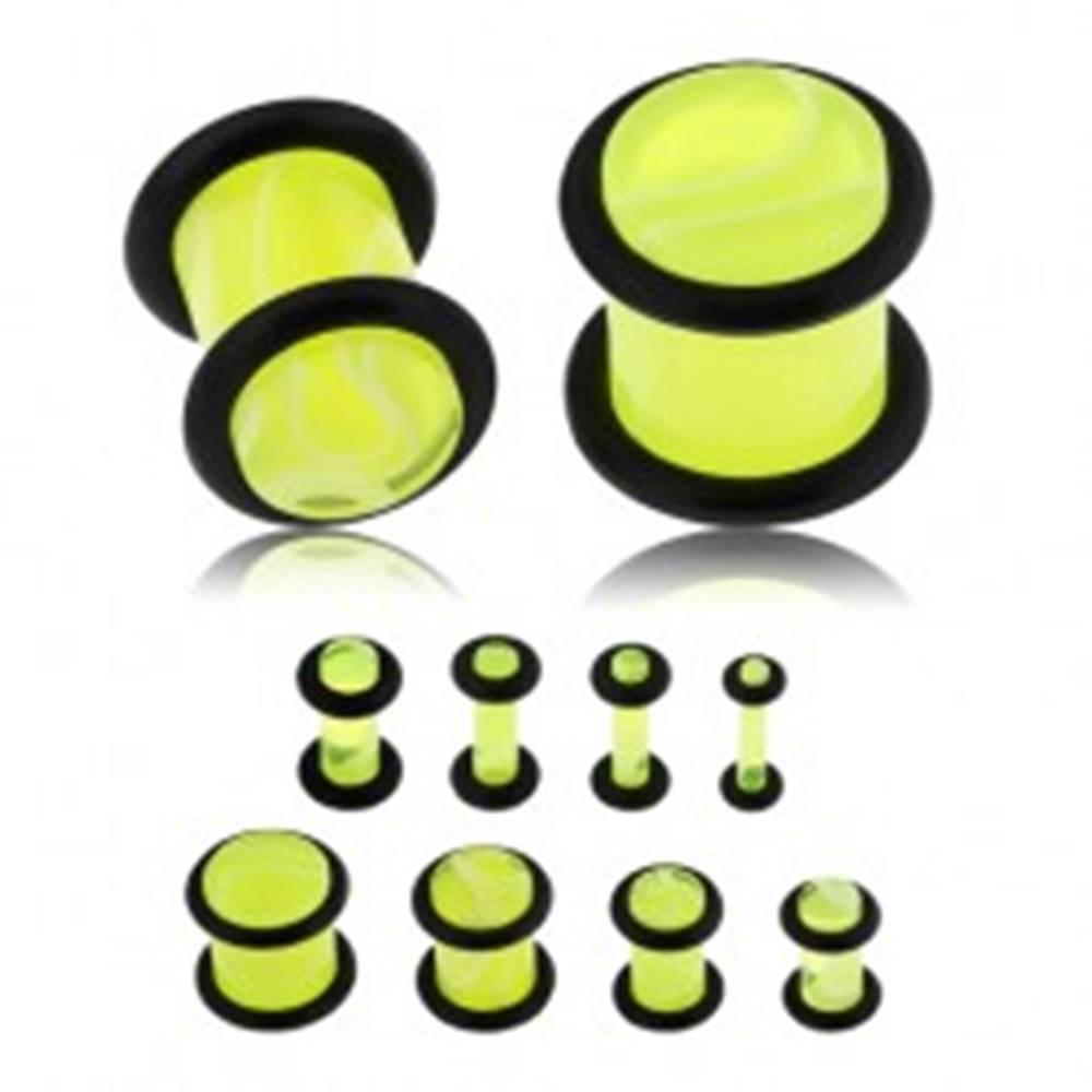 Šperky eshop Plug do ucha z akrylu, neónovo žltá farba, mramorový vzor, čierne gumičky - Hrúbka: 10 mm