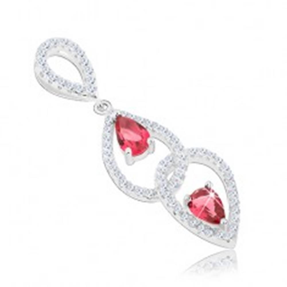 Šperky eshop Prívesok, striebro 925, slzičkové obrysy zdobené čírymi a ružovými zirkónmi