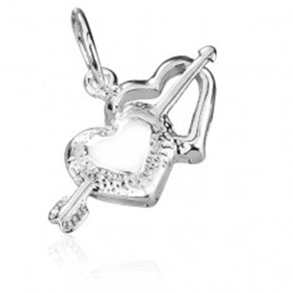 Šperky eshop Prívesok zo striebra 925 - Amorov šíp a srdcia