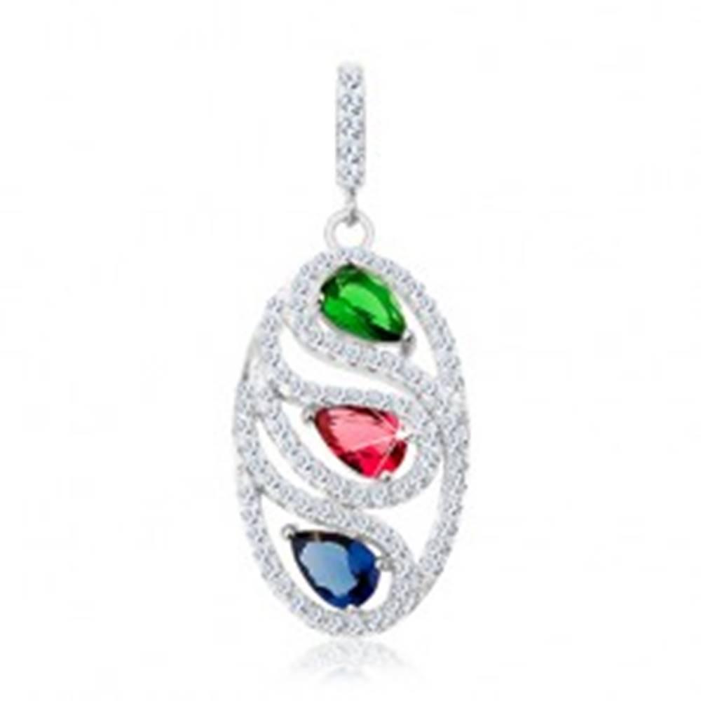 Šperky eshop Prívesok zo striebra 925, číra zirkónová kontúra oválu, tri farebné slzičky