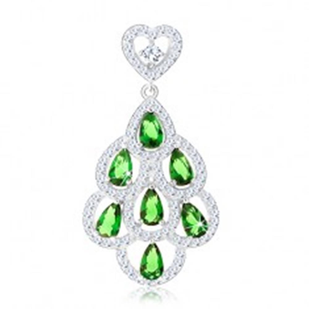 Šperky eshop Prívesok zo striebra 925, malé srdiečko, strapec zo zelených zirkónov