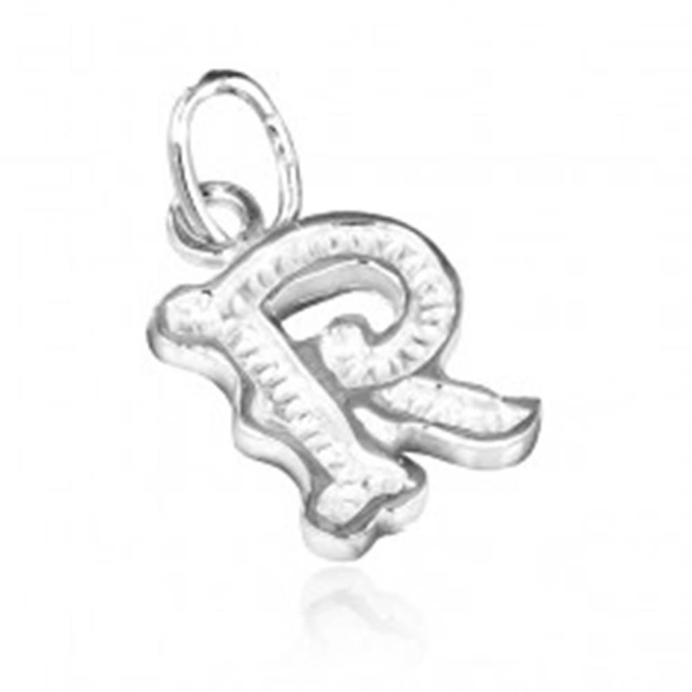 Šperky eshop Prívesok zo striebra 925 - ozdobné písmeno R