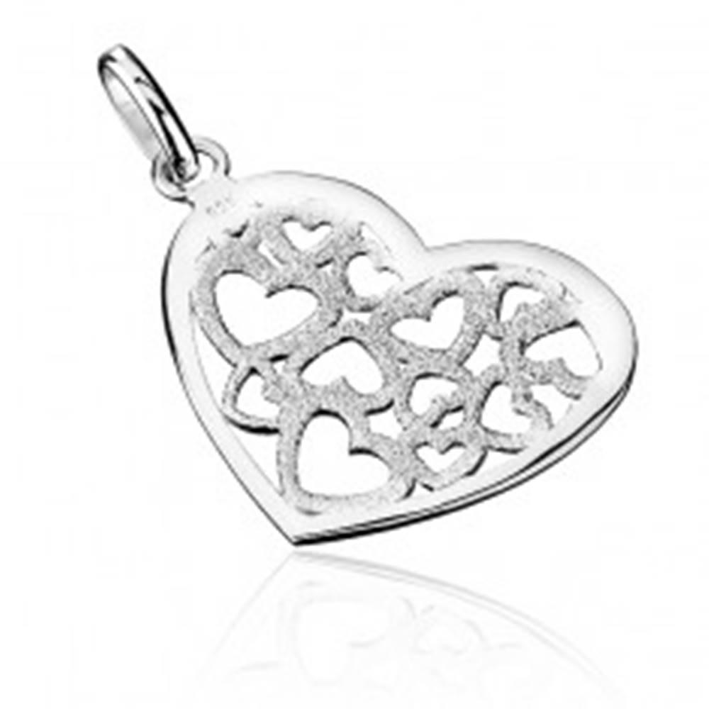 Šperky eshop Prívesok zo striebra 925 - pieskované filigránové srdce