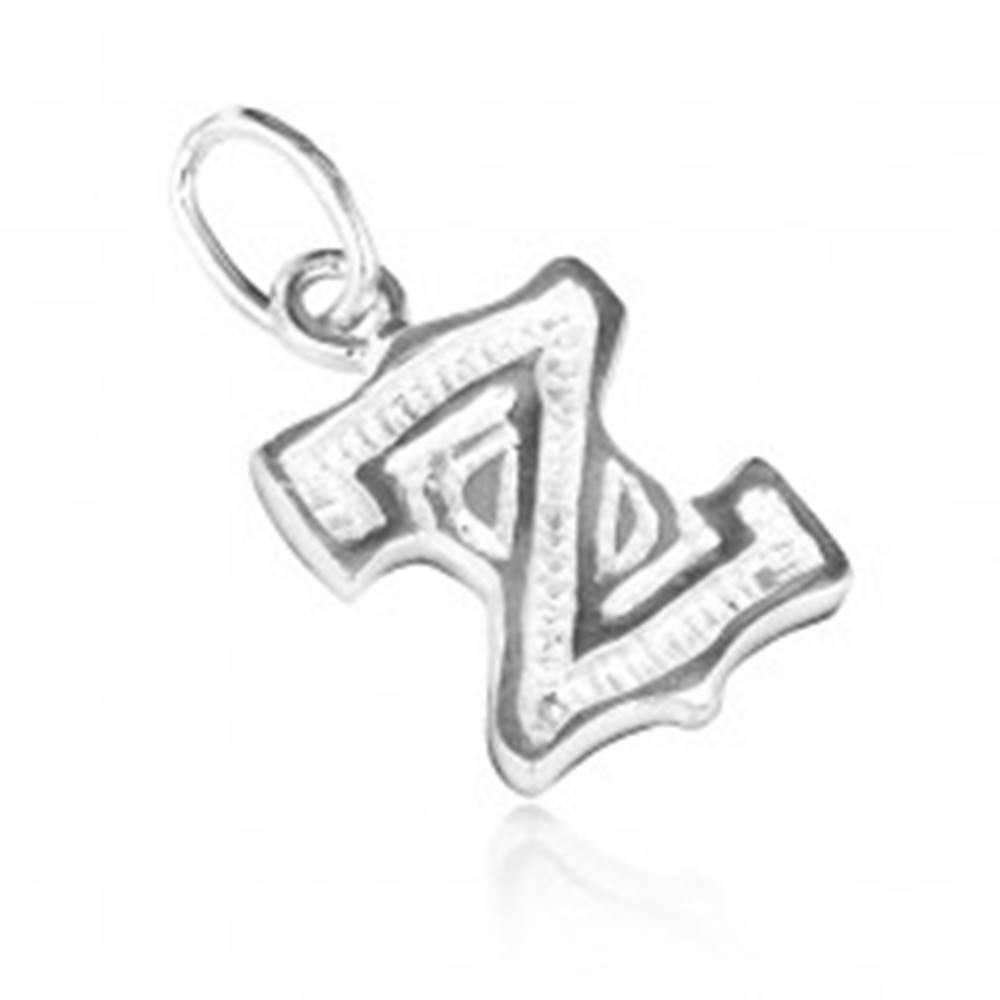 Šperky eshop Prívesok zo striebra 925 - písmeno Z s vrúbkami