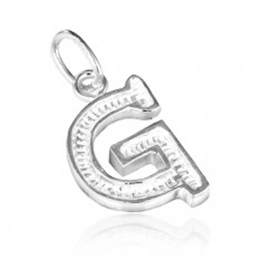Šperky eshop Prívesok zo striebra 925 - vyrezávané písmeno G