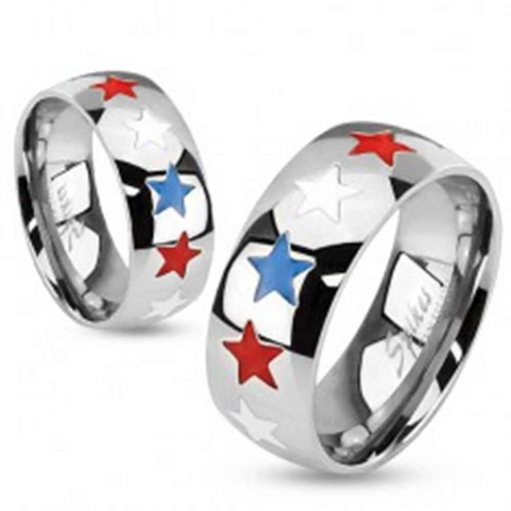 Šperky eshop Prsteň, oceľ 316L, strieborný odtieň, vysoký lesk, hviezdičky s farebnou glazúrou - Veľkosť: 59 mm