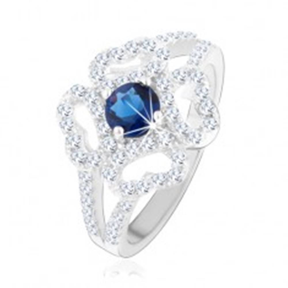 Šperky eshop Prsteň - striebro 925, rozdelené ramená, číry obrys kvetu, modrý zirkón - Veľkosť: 49 mm