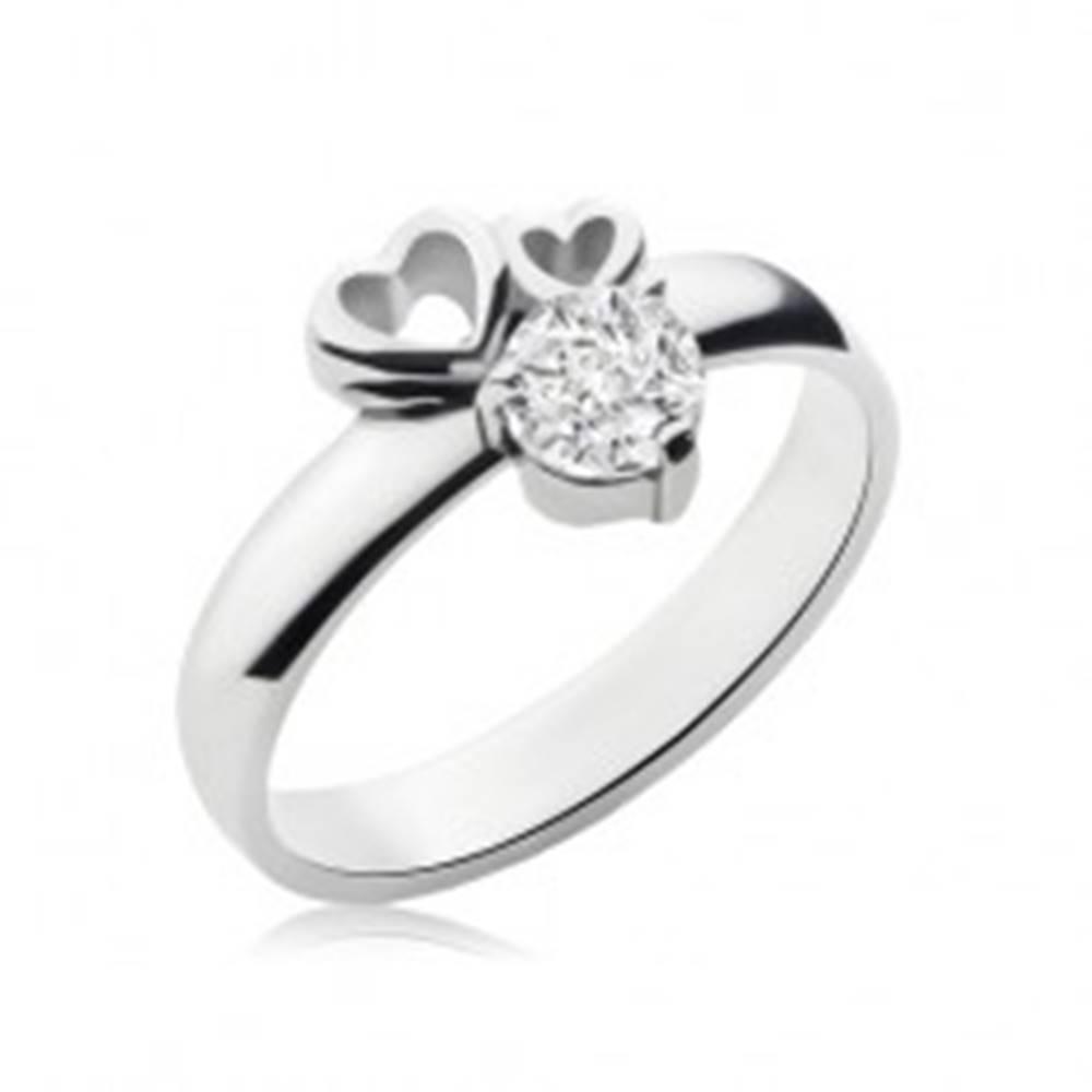Šperky eshop Prsteň z chirurgickej ocele striebornej farby, dva obrysy sŕdc, číry zirkón - Veľkosť: 49 mm