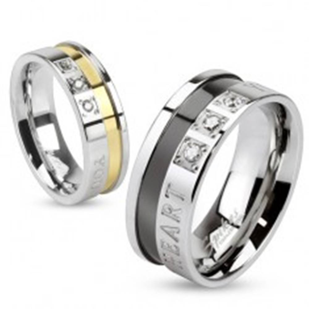 Šperky eshop Prsteň z ocele 316L, strieborná a čierna farba, zaľúbený nápis, zirkóny, 8 mm - Veľkosť: 60 mm