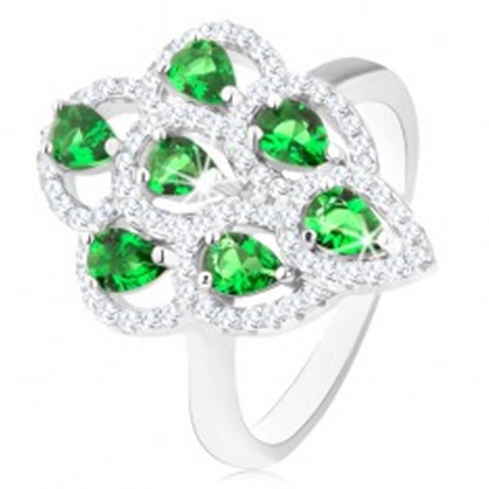 Šperky eshop Prsteň zo striebra 925, ligotavý strapec zo zelených zirkónov s čírym lemom - Veľkosť: 49 mm