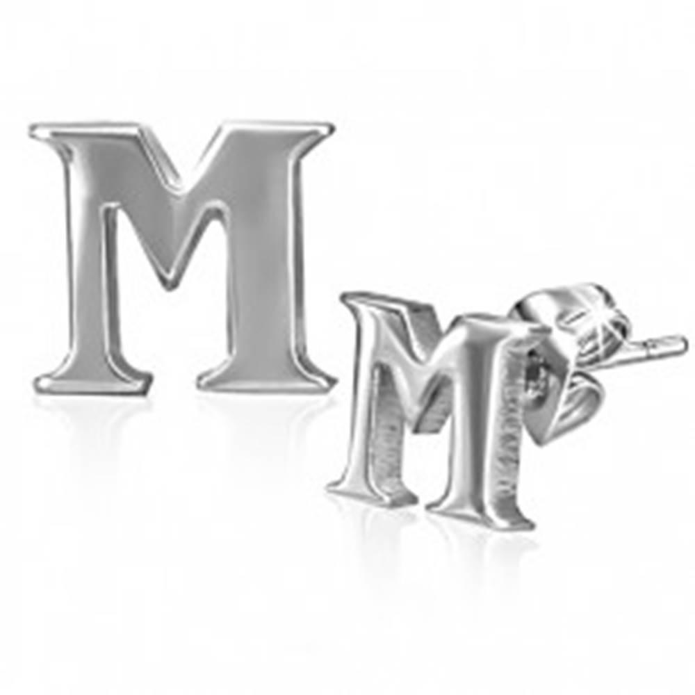 Šperky eshop Puzetové náušnice z ocele - tlačené písmeno M