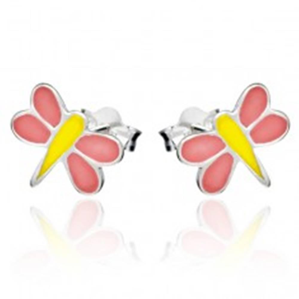 Šperky eshop Puzetové náušnice zo striebra 925 - ružovo-žltá vážka