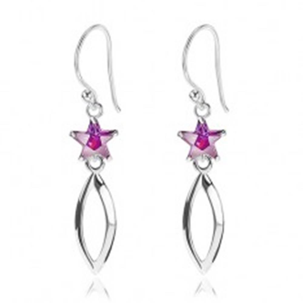 Šperky eshop Strieborné 925 náušnice, fialová zirkónová hviezdička, lesklý obrys zrnka