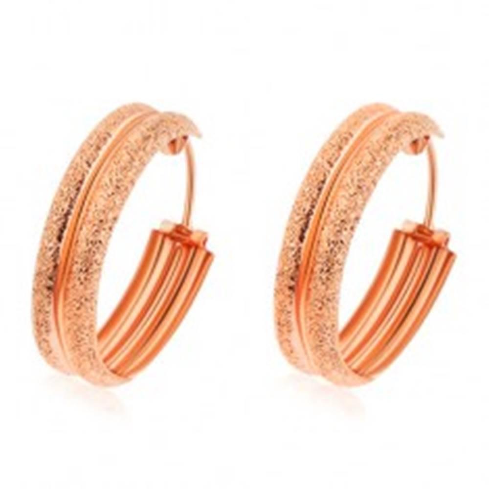 Šperky eshop Strieborné náušnice 925, kruhy medenej farby, pieskované vypuklé okraje
