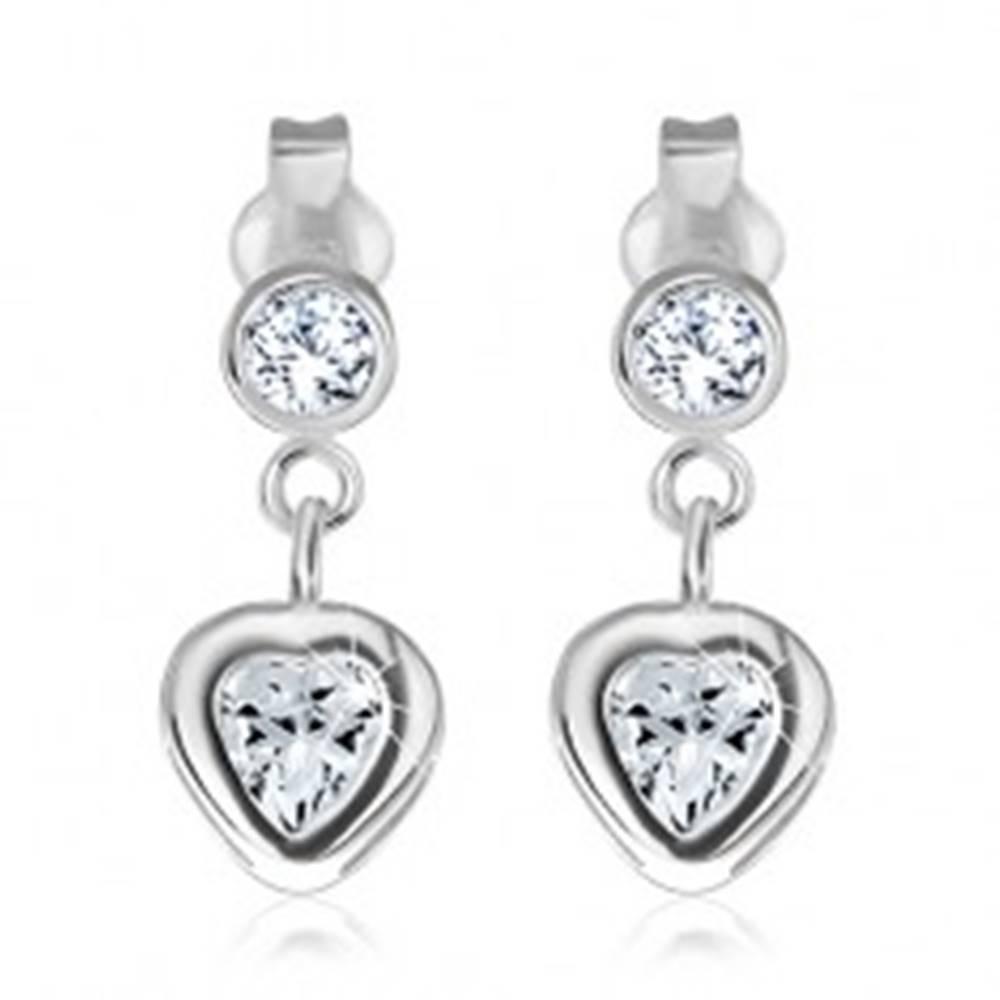 Šperky eshop Strieborné puzetové náušnice 925 - zirkónové srdce v objímke