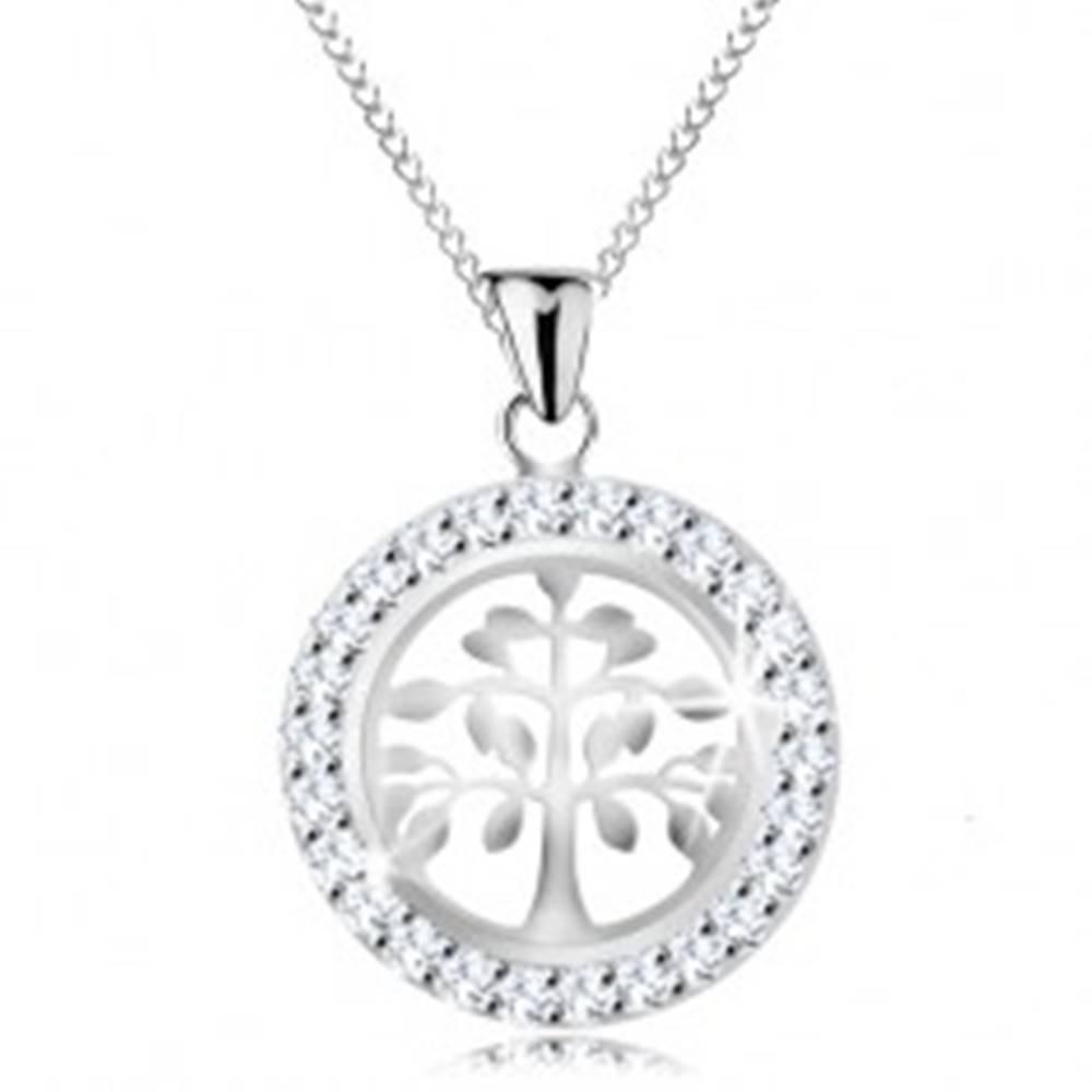 Šperky eshop Strieborný 925 náhrdelník, prívesok - lesklý strom života v trblietavej obruči