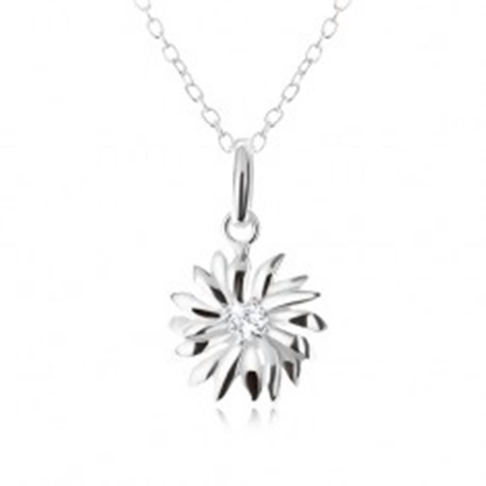 Šperky eshop Strieborný 925 náhrdelník - retiazka a prívesok margarétky, číry zirkón