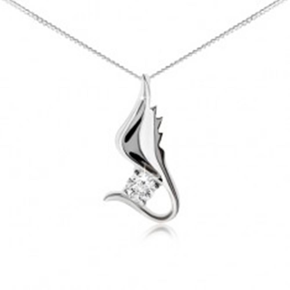 Šperky eshop Strieborný 925 náhrdelník, retiazka, lesklé krídlo s čírym zirkónom