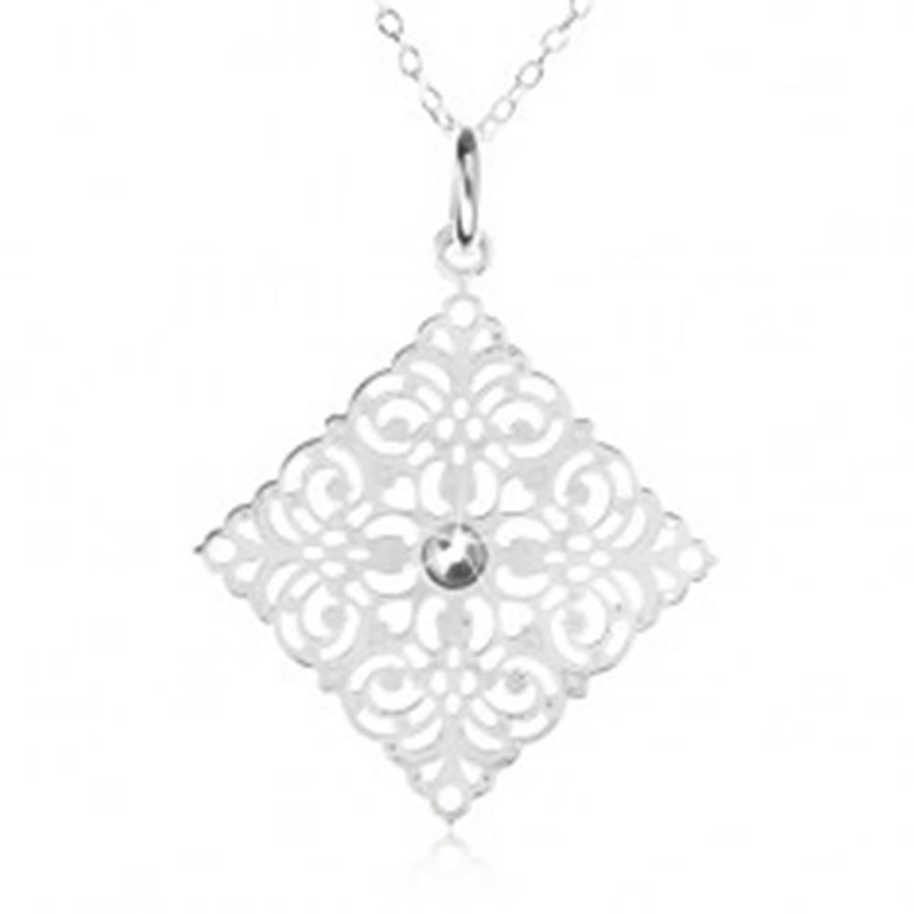 Šperky eshop Strieborný 925 náhrdelník - retiazka, ozdobne vyrezávaný štvorec, zirkón