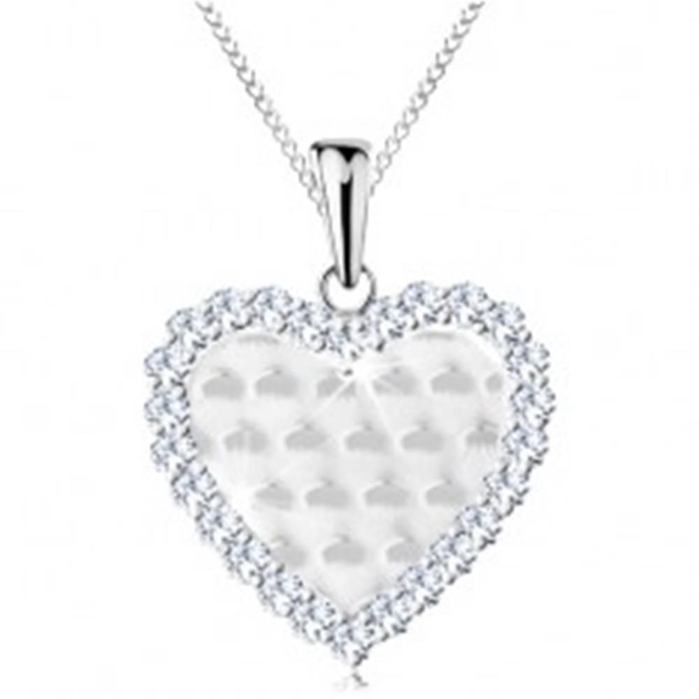 Šperky eshop Strieborný 925 náhrdelník, srdiečko s ligotavými oblúčikmi a čírym lemom