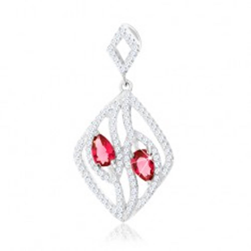 Šperky eshop Strieborný 925 prívesok, kontúra kosoštvorca, číre zirkónové línie, ružové kvapky