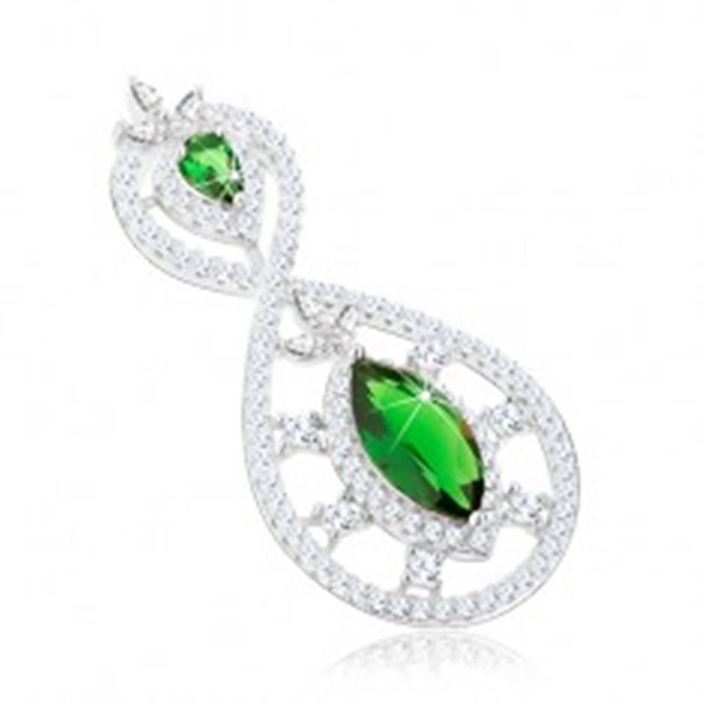 Šperky eshop Strieborný 925 prívesok, zirkónová osmička, zelená obrátená slza a zrnko