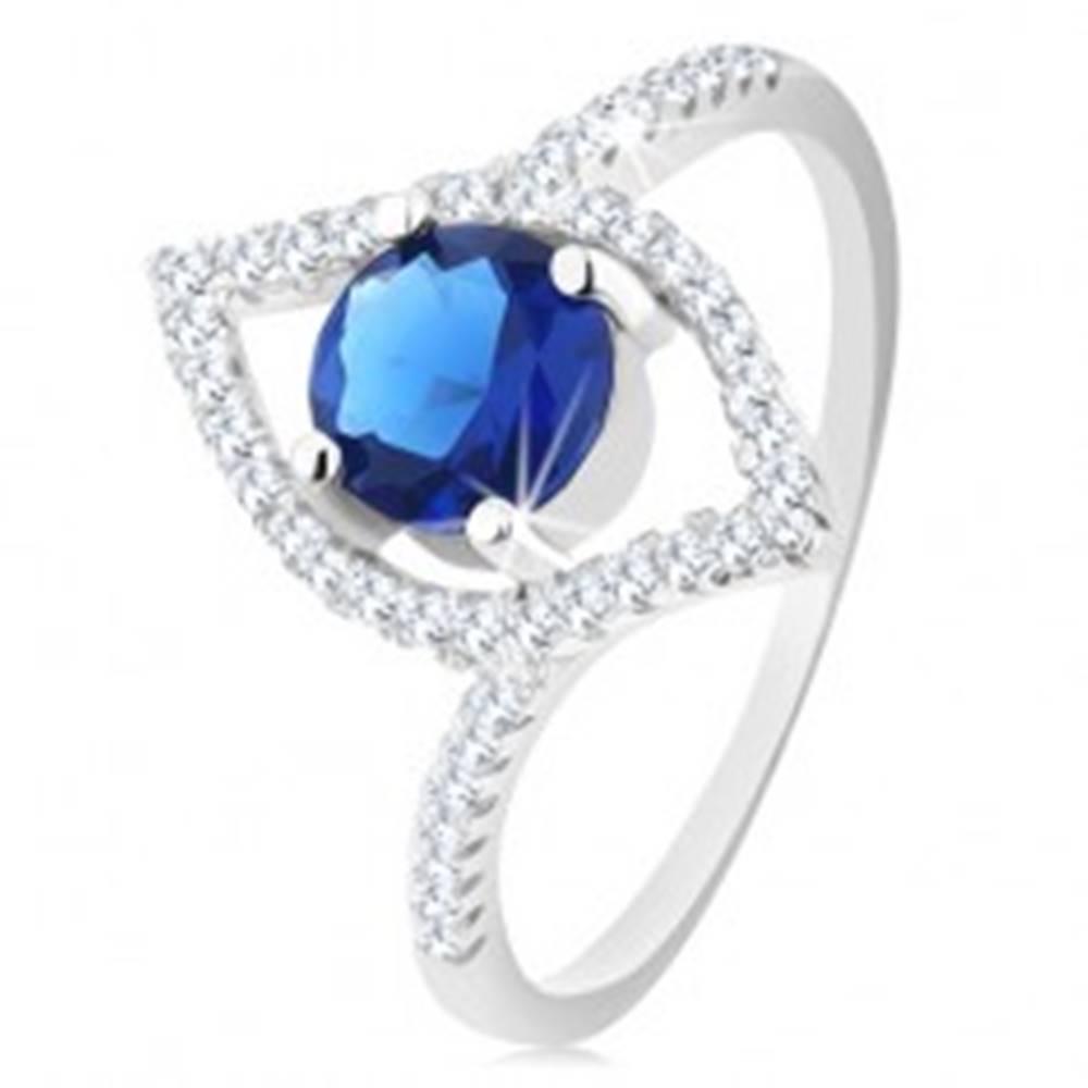 Šperky eshop Strieborný 925 prsteň, ligotavý obrys zrnka, okrúhly modrý zirkón - Veľkosť: 51 mm