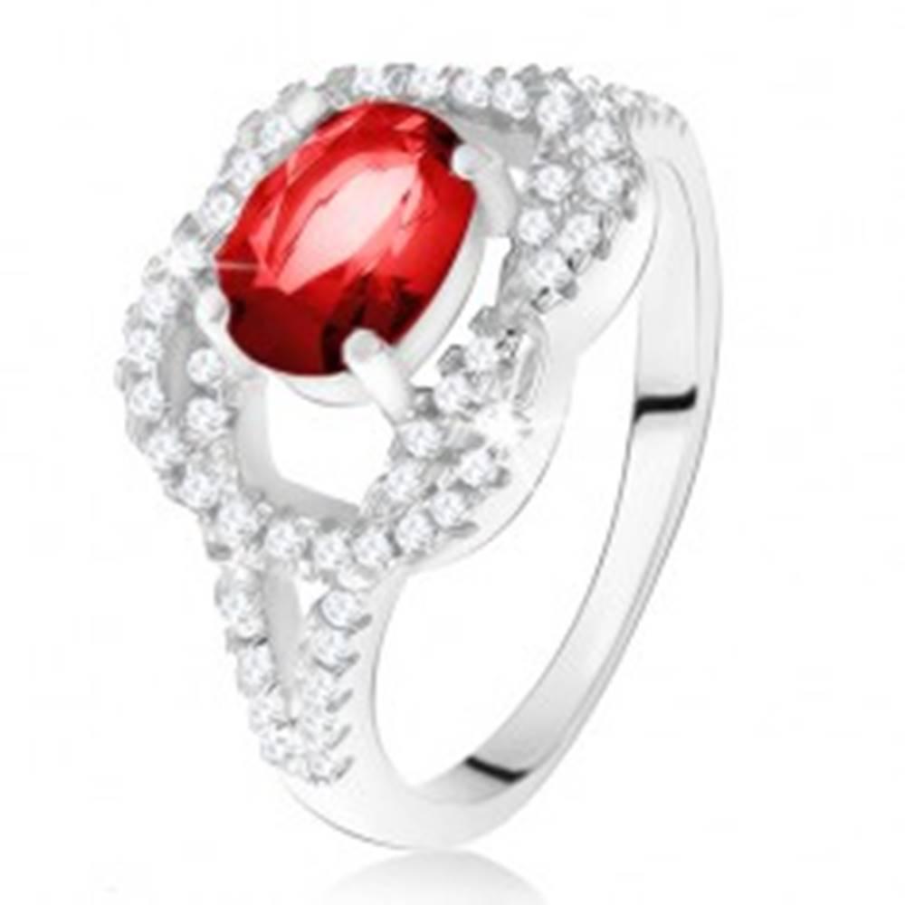 Šperky eshop Strieborný 925 prsteň, oválny rubínový kameň, zirkónový uzol - Veľkosť: 50 mm